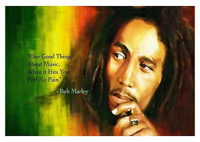 Bob Marley - Life Quote Reggae Music Legend Large Poster / Canvas Picture Prints