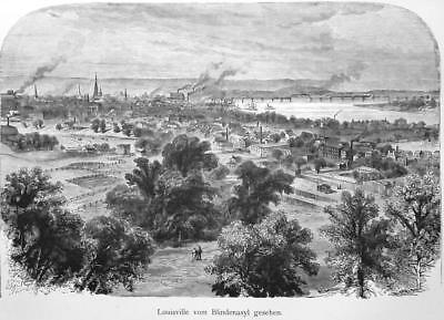 LOUISVILLE View from Asylum for Blinds - 1883 German Print