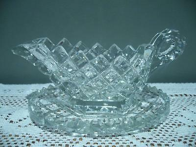 Crystal Sauce Jug And Under Plate - Saw Tooth Rim - Vintage - Very Good Cond