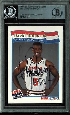 671b071fb Spurs David Robinson Authentic Signed 1992 Hoops McDonald s  59 Card BAS  Slabbed