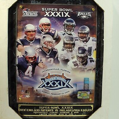 b80c55ee3ec Patriots vs Eagles Super Bowl XXXIX Plaque Limited Edition  2292 of 5000  2005