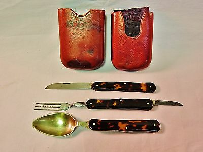 Rare Antique 19Th Century Superb Quality Campaign  Knife, Fork,spoon Set Amazing