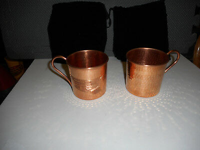 2 Cadillac Logo Hammered Copper Draft Beer Drinking Mug Or Cup