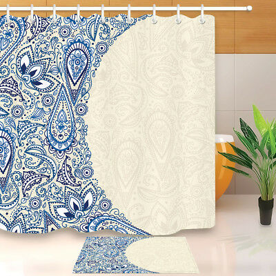 Blue Abstract Paisley Floral Shower Curtain Set Bathroom Mat Polyester Fabric