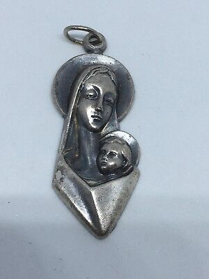 Beautiful Vintage Mother Mary And Jesus Pendant Medallion Modern Look Italy