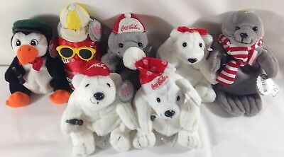 Lot of 7 Collectible Coca Cola Bean Bag Plush Stuffed Animals w/ Tags 1997-1998