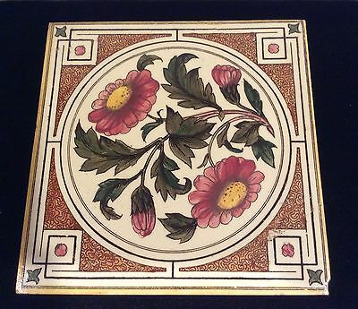 Aesthetic Victorian Transfer Tile Daisies  Maw & Co #124