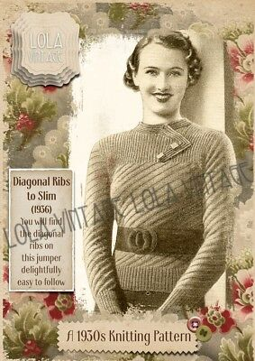 Vintage 1930s Retro Knitting Pattern Lady's Ladies Diagonal Ribbed Jumper 1940s