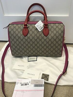 1a44dab73c80 Gucci GG Supreme Hibiscus Red & Pink Medium Convertible Boston Bag NWT $1890