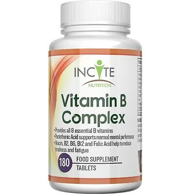 Vitamin B Complex High Strength 180 Small 6mm Tablets Contains All 8 B Vitamins