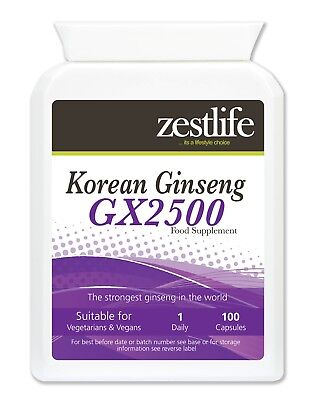 Zestlife Korean Panax Ginseng GX2500/ 100 Capsules-boost for physical & mental