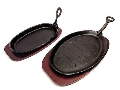 Steak Sizzle Cast Iron Sizzling Platter Serving Oven Plate Dish with Wooden Base