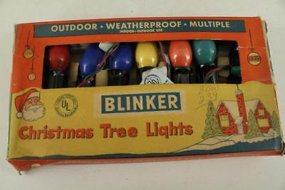 Vintage Lot CHRISTMAS Lights Decoration BLINKER 7 Light Bulb Strand Outdoor Use