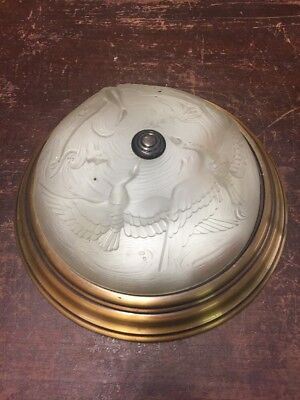 """Vintage Ceiling Light Fixture with Frosted Glass Duck Shade 15"""""""