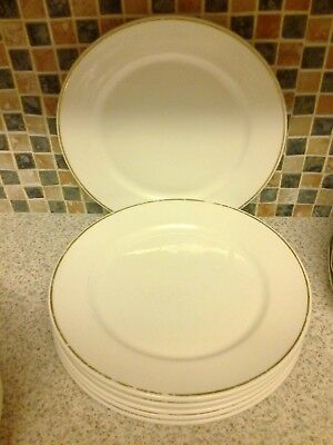Dudson Fine China 7 X Dinner Plates White With Gold Line Wear To Gold