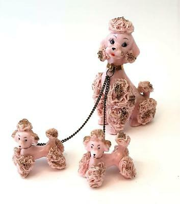 Vintage 50s Pink Spaghetti Porcelain Poodle Dog w/ 2 Puppies Chain Leash Napco