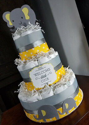 3 Tier Diaper Cake - Yellow and Gray Elephant Theme Polka Dots Diaper Cake