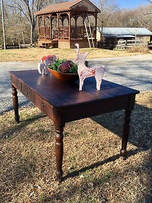 FANTASTIC ANTIQUE 1800's THREE DRAWER VIRGINIA FARM TABLE