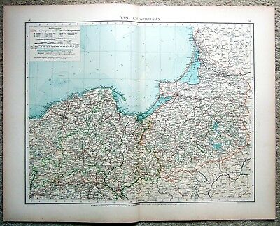 Prussia - Original 1899 Map by Velhagen & Klasing. Antique