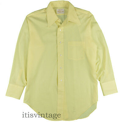 Arrow Kent Collection Shirt Vintage Sanforized Yellow Casual Dress 15 1/2 x 32