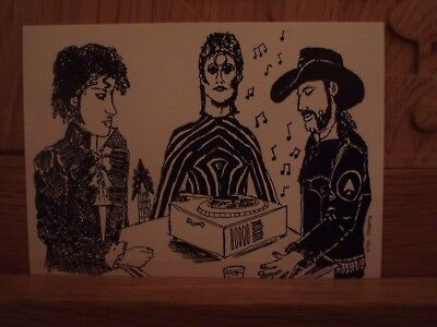 Bowie, Lemmy and Prince listening to a record, Original Design Postcard