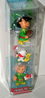 Lucy Charlie Brown Snoopy 3 Peanuts Gang Plastic PVC Christmas Figures New Box