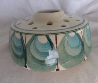 retro Jersey Pottery posy vase flower arranging candles turquoise hand decorated
