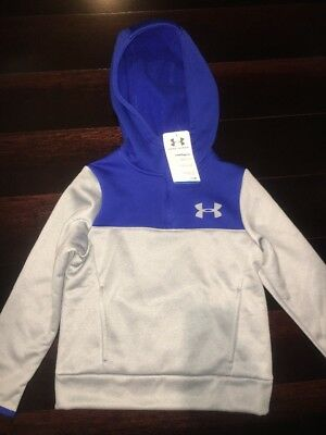 Under Armour Storm 1 Gray w/Blue 1/4 Zip Cold Gear Hoodie 1282029 Youth XS YXS