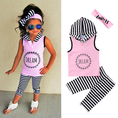 3Pcs Toddler Kids Baby Girl Hoodie Top Pants Striped Leggings Outfit Clothes Mon