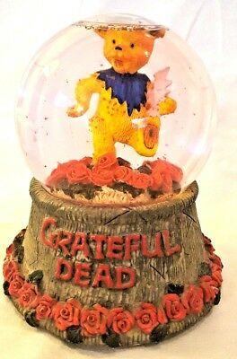 Grateful Dead Yellow Dancing Bear Red Rose Snowglobe Water Globe Paper Weight