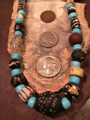 Long Old TRADE Bead NECKLACE Hudson Bay FUR RENDEZVOUS MTN MAN 32L Trail Skunk
