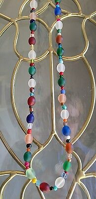 Long Strand Of Great Old Trade Bead Necklace Glass Beads Beautiful Colors 28L