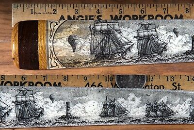 Scrimshaw Swordfish  Bill Pen-And-Ink  K. Henry  Ship  Whale Balloon. Lighthouse