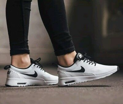 NIKE AIR MAX Thea White Black Logo Leather Running Shoes
