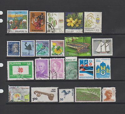 Asia - 22 used stamps  ( Lot 92 )
