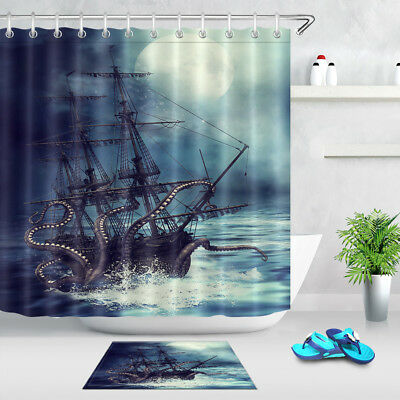 Octopus Tentacle Pirate Ship Waterproof Fabric Shower Curtain Hook Bathroom Mat