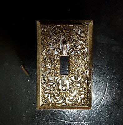 Vintage ornate metal wall light switch plate cover scroll floral design
