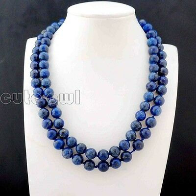 Fashion Jewerly Natural 8mm Lapis Lazuli Round Beads Necklace 36''AAA