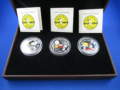 2010 $2 Niue Islands - Celebrate Peanuts 60 Years - 3 Silver Proof Coloured Coin