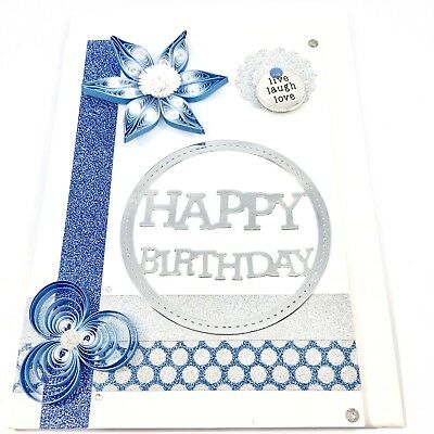 CARD Quilled, One of a Kind, Handcrafted, Happy Birthday, Blank card Blue Silver