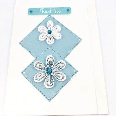 CARD Quilled, One of a Kind, Handcrafted, Blue White, Blank Card, Handmade