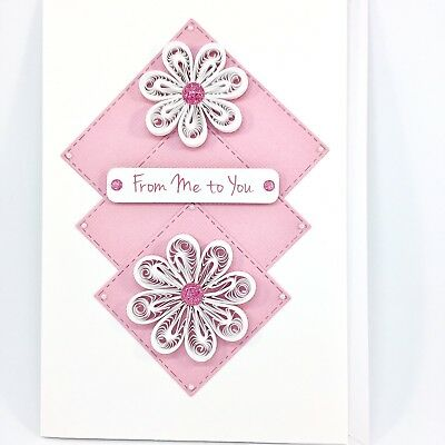 CARD Quilled, One of a Kind, Handcrafted, Pink White, Blank Card, Handmade