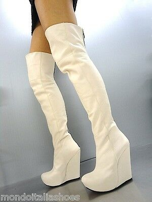 MORI ITALY OVERKNEE HIGH HEEL BOOTS STIEFEL STIVALI STUD LEATHER WHITE BIANCO 45