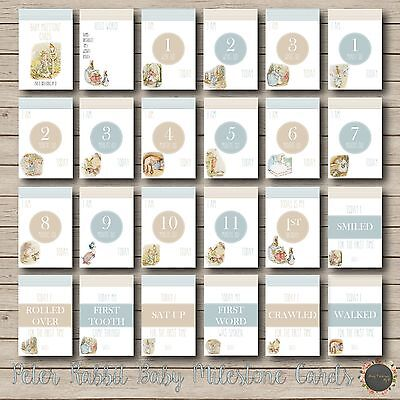 """Peter Rabbit Baby Moments and Milestones Cards 23 Pack 4×6"""" Photo Blue boy girl"""