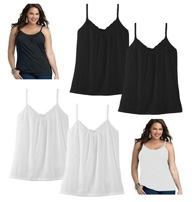 e1a91c8dcc 2-Pack Just My Size JMS Women s Lace Shirred Tank Cami Camisole