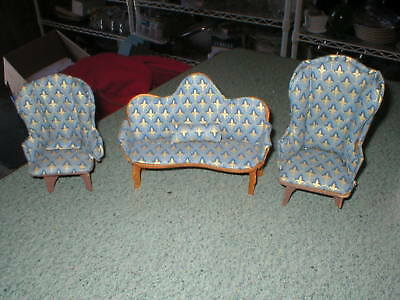 Vtg Doll House Miniatures 3 Pc Couch & 2 Chairs Wood & Cloth