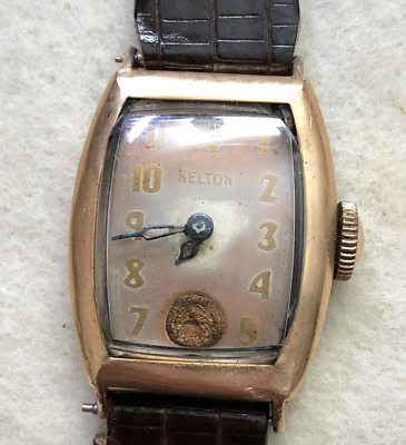 Vintage Kelton Men's Watch Parts/Repair Art Deco USA Case Wrist Gold