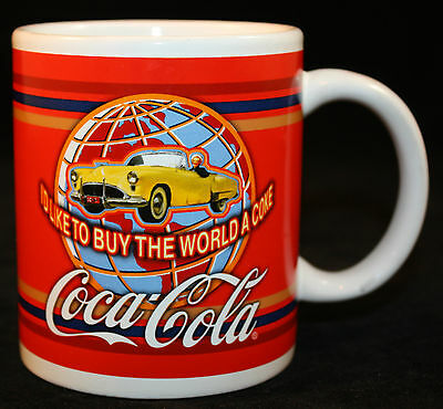 Coca-Cola Mug Cup  I'd Like To Buy The World A Coke Globe Vintage Yellow Car