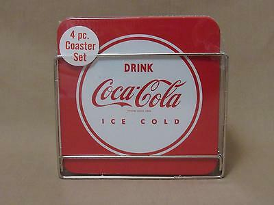 Coca-Cola 4Pc Coaster Set With Caddy  New Sealed 2 Red 2 White Cork Backs