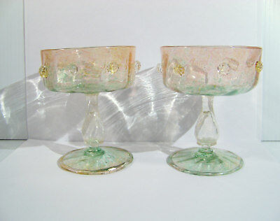 Venetian Murano Pink & Green Glass Goblets with prunts  vintage 2 glasses lot C